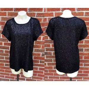 Charter Club Black Sequin T Shirt XL 100% Cotton